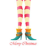 Vector christmas card with with elf girls legs royalty free illustration