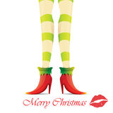 Vector christmas card with with elf girls legs Royalty Free Stock Images