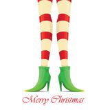 Vector christmas card with with elf girls legs Royalty Free Stock Photos
