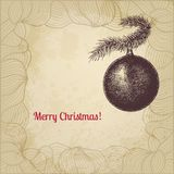 Vector Christmas card with fir tree decorative. Vintage vector Christmas card with fir tree decorative ball Royalty Free Stock Photography