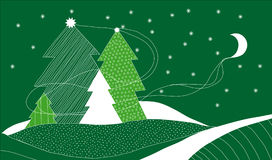 Vector Christmas Card with Four Christmas Trees Royalty Free Stock Photos