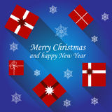 Vector christmas card with gift boxes Royalty Free Stock Photography