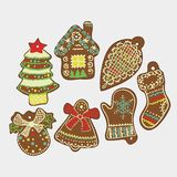 Vector Christmas Card. Gingerbread. Vector Christmas Card with Tasty Ginger Cookies Stock Photos