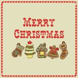 Vector Christmas Card. Gingerbread Stock Images