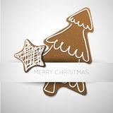 Vector Christmas card with gingerbreads Royalty Free Stock Images