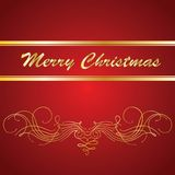 Vector Christmas card. Golden pattern on red background Stock Image