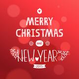 Vector christmas card. Vector christmas greeting card with new year lettering. Illustration on red background 2015, EPS10 Stock Photos