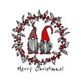 Hand drawn Christmas gnomes vector illustration