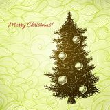Vector Christmas card with hand drawn fir tree Royalty Free Stock Photos