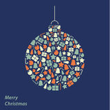 Vector Christmas card. Iconic Christmas square background in fre Royalty Free Stock Images