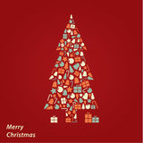 Vector Christmas card. Iconic Christmas square background in fre Stock Photos