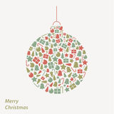Vector Christmas card. Iconic Christmas square background in fre Royalty Free Stock Photos