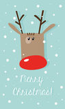 Vector Christmas card: red nose reindeer on a snowy turquoise ba Stock Image