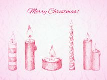 Vector Christmas card in rosy colors Royalty Free Stock Photo