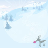 Vector Christmas card with Rudolph Stock Images