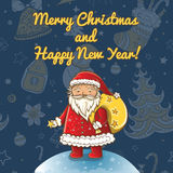 Vector Christmas card with Santa Claus Stock Photography
