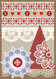 Vector Christmas card in scrapbooking style Stock Images
