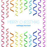 Vector Christmas card with serpentine. Merry Christmas and happy New Year! Rainbow serpentine pattern for congratulation. Template for congratulation Stock Image