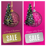 Vector Christmas card set sale background with ball, stripe, blurred tree. EPS10 royalty free stock photo