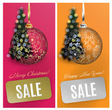 Vector Christmas card set sale background with ball, stripe, blurred tree. EPS10 stock photo