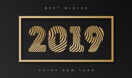 Vector christmas card with sign 2019 happy new year gold style. On holiday background for promotion, flyer, invitation, poster, decoration, web, banner sale. 10 vector illustration