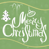 Vector Christmas card with sketch elements. white, green and yellow. Vector illustration EPS10 Stock Photo