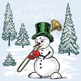 Snowman trumpeter in Christmas time. Vector Christmas card with a snowman playing on a trumpet at Christmas Royalty Free Stock Photo