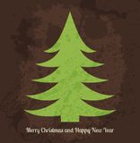 Vector Christmas card with stylized green fir tree Stock Image
