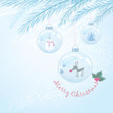 Vector Christmas card with three baubles Stock Photos