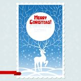Vector Christmas card with white stylized deer Stock Photo