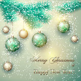 Vector Christmas Card With Tree Branch And Balls Royalty Free Stock Photos