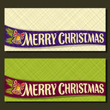 Vector Christmas cards. With copy space: on ribbon handwritten type for text merry christmas, 2 horizontal banners with white & green abstract background Stock Image