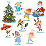 Vector Christmas carnival party, cartoon children in costumes, Santa Claus with presents for kids in fancy dresses. Vector Christmas carnival party, children in Stock Images