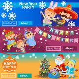 Vector Christmas carnival party, matinee invitation, 3 posters with children in costumes, Santa Claus. New year banners. Vector Christmas carnival party, matinee Royalty Free Stock Photography