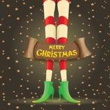 Vector christmas cartoon card with elf girls legs Stock Image