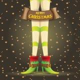 Vector christmas cartoon card with elf girls legs Royalty Free Stock Image