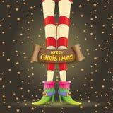 Vector christmas cartoon card with elf girls legs Stock Photo