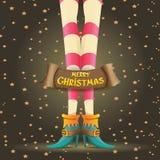 Vector christmas cartoon card with elf girls legs Royalty Free Stock Photo