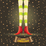 Vector christmas cartoon card with elf girls legs Royalty Free Stock Images