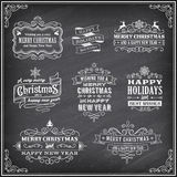 Vector Christmas Chalboard Labels Royalty Free Stock Photos