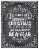 Vector Christmas Chalkboard Greeting Card Royalty Free Stock Images