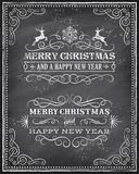 Vector Christmas Chalkboard Greeting Card Royalty Free Stock Photos