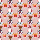 Vector Christmas characters. New year pattern with presents vector illustration