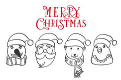 Vector Christmas characters.Santa Claus Penguin Stock Images