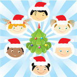Vector christmas children. stock photos