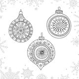 Vector Christmas Coloring Tree Decoration Baubles Line Art Royalty Free Stock Photo