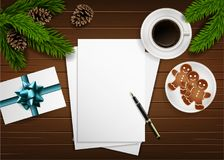 Vector Christmas composition on wooden board Stock Photo