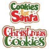 Vector Christmas Cookies for Santa Titles Christmas Illustrations stock image