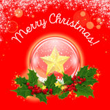 Vector. Christmas crystal ball in a wreath of Royalty Free Stock Photos