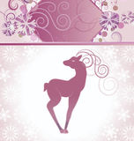 Vector christmas decor card with hand drawn deer honeysuckle col Royalty Free Stock Images
